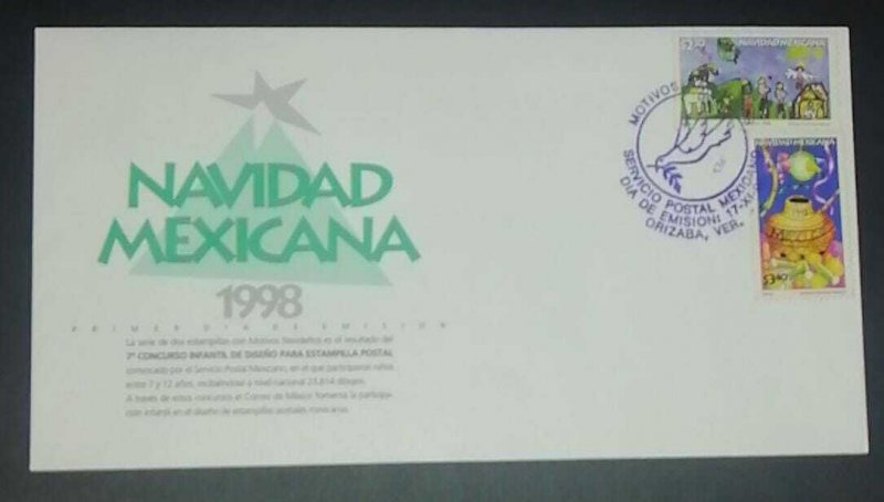 A) 1998, MEXICO, FDC, MEXICAN CHRISTMAS, CHILDREN'S DESIGN CONTEST FOR POSTCARD