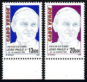 Cape Verde 566-567, MNH. Visit of Pope John Paul II, 1990