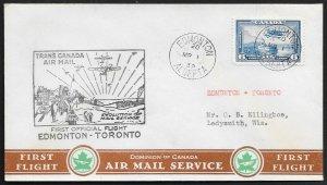 CANADA First Flight Cover c1939 Edmonton to Toronto