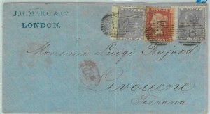 BK0705 - GB - POSTAL HISTORY - SG # 70*2 + 29  on COVER to Livorno ITALY 1861