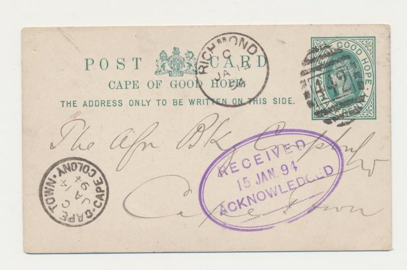 CAPE OF GOOD HOPE 1894, RICHMOND CDS ON ½d CARD TO QUEENSTOWN, CAPE TRANSIT