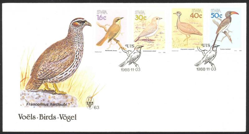 South West Africa Sc# 606-609 SG# 499/502 FDC 1988 Birds