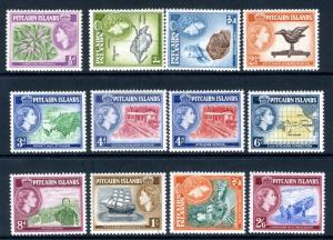 PITCAIRN ISLANDS-1957-63 Set to 2/6 Sg 18-28 LIGHTLY MOUNTED MINT V19560