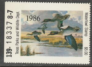 U.S.-TEXAS 6, STATE DUCK HUNTING PERMIT STAMP. MINT, NH. VF