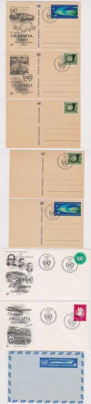 United Nations Vienna 1969 FD covers & PS air letter & postl cards 8 items