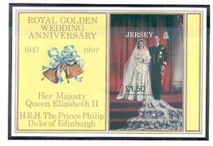 Jersey Sc 824 1997 Golden Wedding Anniversary QE II stamp sheet mint NH