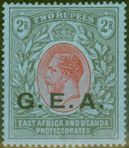 Tanganyika G.E.A 1921 2R Red & Black-Blue SG66 V.F Lightly Mtd Mint