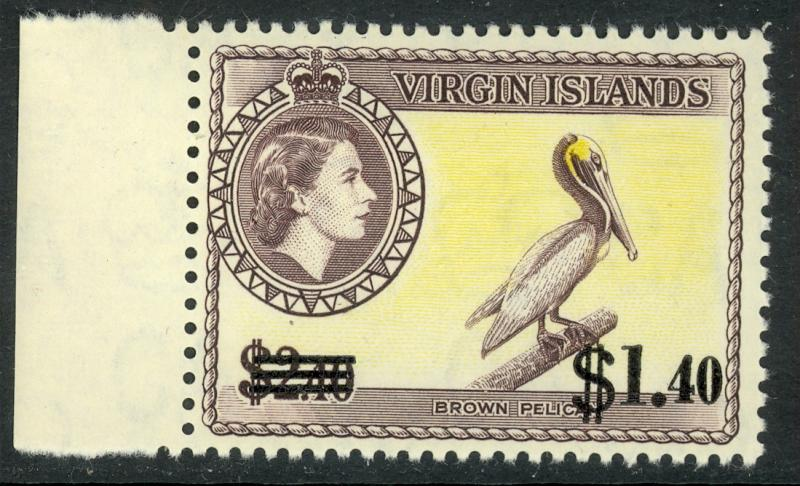 BRITISH VIRGIN ISLANDS 1962 $1.40 on $2.40 PELICAN Surcharge Issue Sc 138 MNH