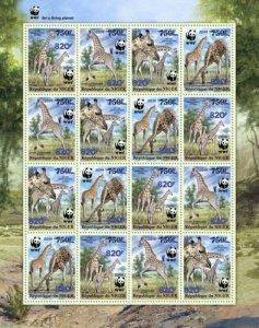 Niger - 2019 West African Giraffe & WWF Overprint - 16 Stamp Sheet - NIG190524f2