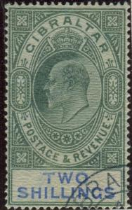 GIBRALTAR-1903 2/- Green & Blue.  A very fine used example Sg 52