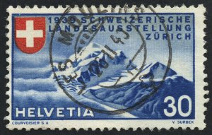 01888 Switzerland Scott #252 Zurich Mountains used, SOTN CDS handstamp cancel