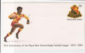 papua new guinea 1984 10th ann. rugby football team UNUSED stamps cover ref21454