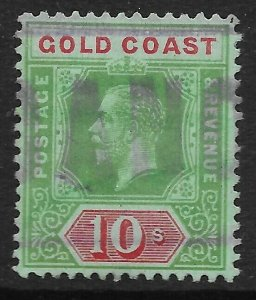 GOLD COAST SG83b 1916 10/= GREEN & RED ON BLUE-GREEN FISCALLY USED