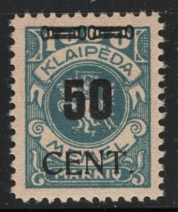 Memel 1923 50c on 1000m Lithuania Occup Sc# N68 NH