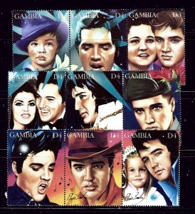 Gambia 1604a-i MNH 1995 Strips of 3 from the sheet for Elvis Presleys 60th Bi...