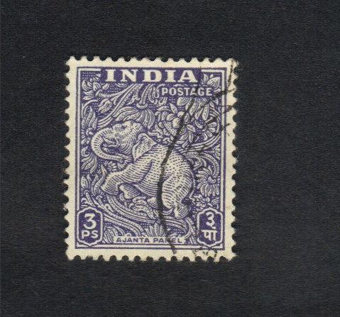 Rare India Elephant Stamp 3PS (Ajanta Caves Elephant 1949)SCOTT #207
