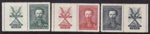 Czechoslovakia #246-48 with label F-VF Mint NH ** Sokol