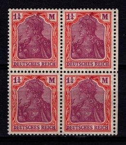 Germany 1916 Empire Definitive Inscr. 'DEUTSCHES REICH' 1 1/4M Block [Mint]