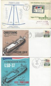 US Naval Cover USS Portland LSD 37 1967 Keel, 1969 Christened, 1970 Commissioned