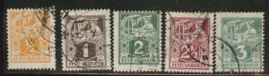 Estonia Scott 65-69 used short set from 1922 - 1925