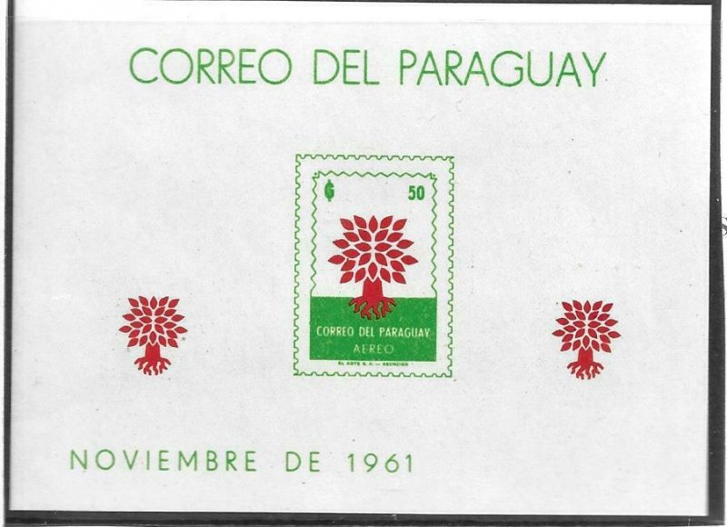 1961    PARAGUAY  -  SG.  MS 977A  -  WORLD REFUGEE YEAR  -  MNH