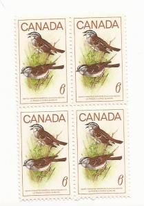 1969 (4 x $0.06 Stamp Block White Throated Sparrow) #496