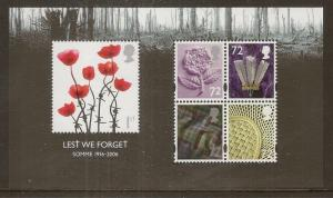 GB 2006 Lest We Forget - Somme Mini Sheet MS2685 MNH