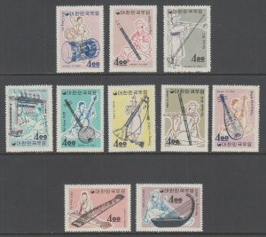 Korea Sc 417-426 MNH. 1963 Musical Instruments, complete set