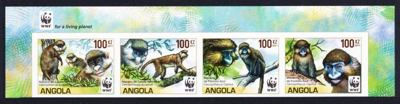 Angola WWF Monkeys Guenons 4v imperforated strip WWF Logo