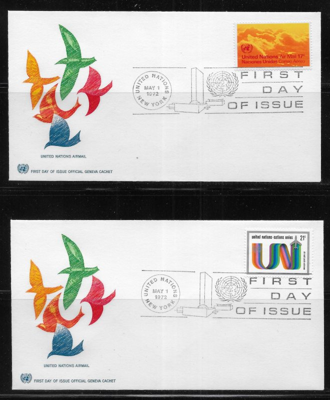 United Nations C15-18 1972 Air Mails Geneva Cachet FDC First Day Cover