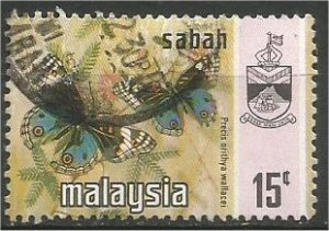 SABAH, 1971, used 15c, Butterfly Scott 29