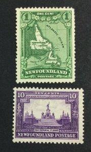 MOMEN: NEWFOUNDLAND SG #198,205 1931 MINT OG H £57 LOT #7054