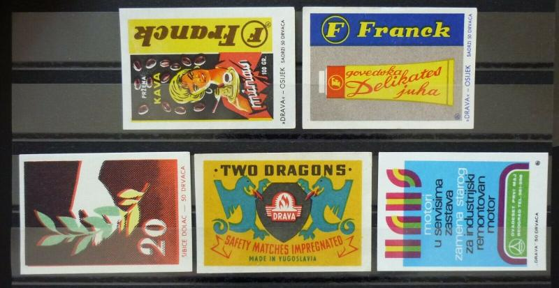 Yugoslavia Match Box Labels ! leaf two dragons soup N11