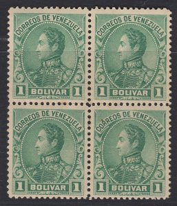 Venezuela 1899-1901 1b Yellow Green Block of 4. LM Mint. Scott 147, SG 184