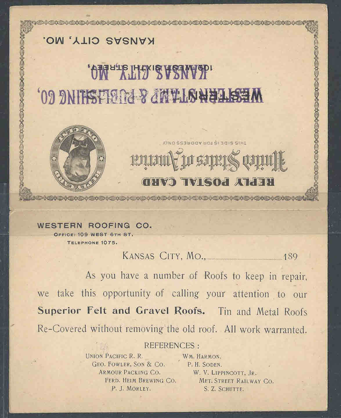Ca 1894 Western Roofing Co Kansas City Mo Does Felt Gravel Roof Repairs Hipstamp