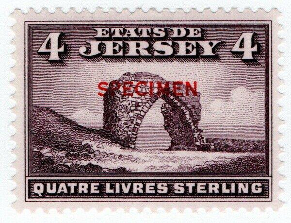 (I.B) Jersey Revenue : Duty Stamp £4 (specimen)