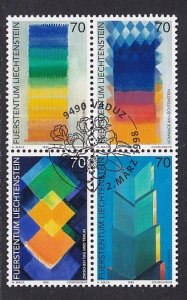 Liechtenstein   #1113a-1116a   cancelled    1998  contemporary art  block of 4
