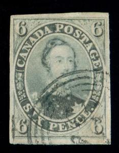 MOMEN: CANADA STAMPS #5b GREENISH GRAY IMPERF USED PSE GRADED CERT VF-80