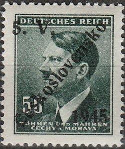 Stamp Germany Czech Bohemia O050 WW2 3rd Reich Hitler Overprint MNH