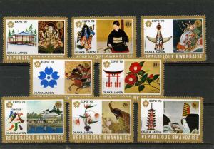 RWANDA 1970 Sc#351-358 JAPANESE PAINTINGS SET OF 8 STAMPS MNH