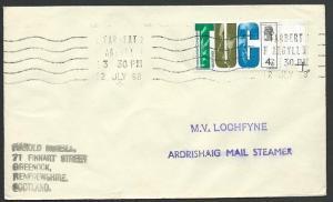 GB SCOTLAND 1968 cover M.V. LOCHFYNE, ARDRISHAIG MAIL STEAMER cachet.......48247