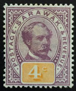 Malaya 1888 Sarawak Sir Charles Brooke 4c MH SG#11 CV £45 M1683