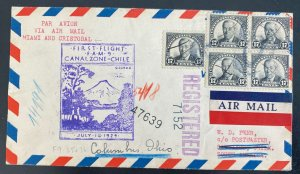 1929 Cristobal Canal Zone Panama First Flight Airmail cover FFC To Columbus Usa