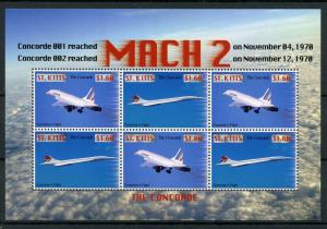 St. Kitts MNH S/S Concorde Jets Mach 2  2007