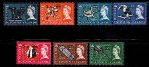 British Solomon Islands Scott 149-155 MNH** surcharged short set