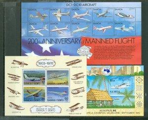 SAMOA AVIATION LOT of (3) SOUV. SHEETS MNH...$18.00