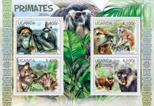 Uganda MNH S/S Primates Wild Animals 2012 4 Stamps