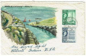 Malta 1959 Cospicua cancel on HANDPAINTED cover to the U.S.