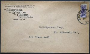 Cover - True 3 Cent Bisect to 1 1/2 Ct 3rd Class Mail rate - Chase Va S34