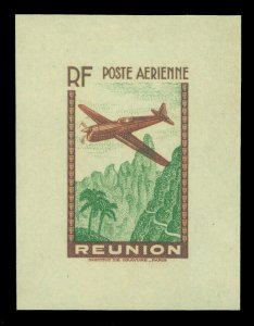 French Colonies - REUNION Is. 1938 AIRMAIL  (12.65Fr) brown & green Sc C5  PROOF